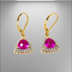 Jewelry - 🆕 sterling/gold overlay, ruby* earrings
